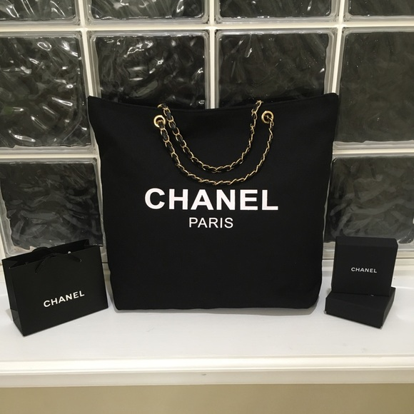 CHANEL Bags   Black Vip Canvas Tote With Gold Chain   Poshmark 14a3a41d12